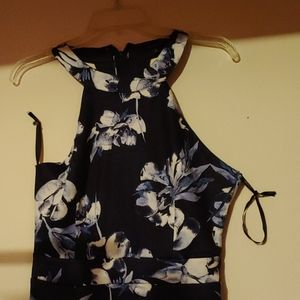 A navy and white shirt flowered dress